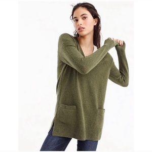 J Crew Medium Olive Green V Neck Sweater Pockets
